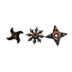 Martial Arts Childrens Black Rubber Training Ninja Stars (Set of 3)
