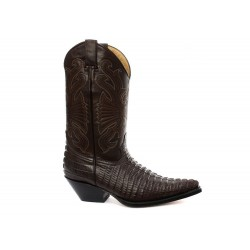 GRINDERS CAROLINA COWBOY WESTERN BROWN LEATHER BOOTS KNEE HIGH BOOT (UK 6 / EU 40)