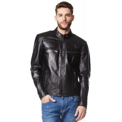 Men's SPEED Black Cool Retro Biker Style Motorcycle Soft Napa Leather Jacket