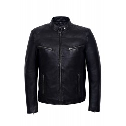 Men's SPEED Black Cool Retro Biker Style Motorcycle Soft Nappa Leather Jacket