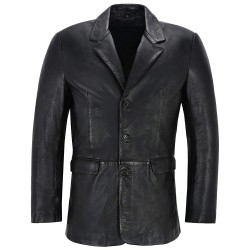 Men's Leather Blazer Black Classic Italian Tailored Soft Lambskin Leather Slim Jim
