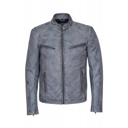 Men's SPEED SR02 Washed Light Grey Biker Style Motorcycle Real Leather Jacket