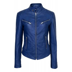Ladies SPEED Blue Washed Cool Retro Biker Style Fitted Motorcycle Designer Leather Jacket