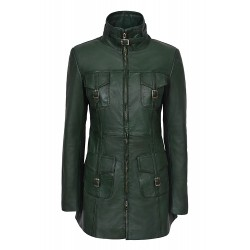 Ladies MISTRESS Green Washed Vintage Gothic Style Real Leather Jacket Coat
