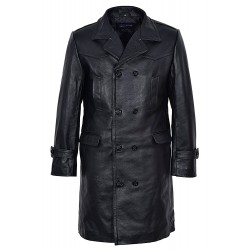 Men's UBOAT LONG Black German WW2 UBoat Reefer Genuine Cowhide Leather Jacket Coat