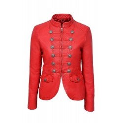 Ladies MILITARY Red Washed Parade Fashion Soft Real Nappa Leather Jacket