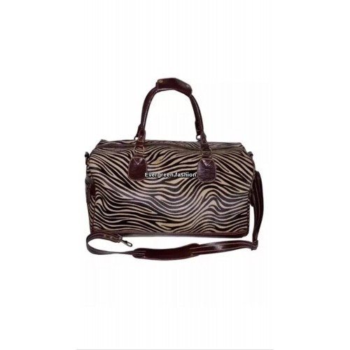 DUFFLE Brown Zebra Print Hair on Weekend Holdall Travel Gym Real Genuine Leather Bag, Leather Holdalls, DUFFLE Brown Zebra Print Hair, ,