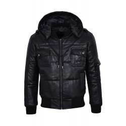 THE PILOT SIX PUFFER Men's BLACK Hooded Bomber Genuine Real Leather Jacket