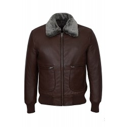 AIR FORCE' Men's BROWN 1169 Collar Aviator BOMBER Real Nappa Leather Jacket