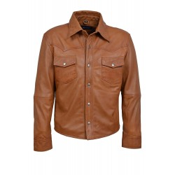 Men's Tan Adjustable Collar Casual Retro Soft Real Leather Shirt Jacket M114