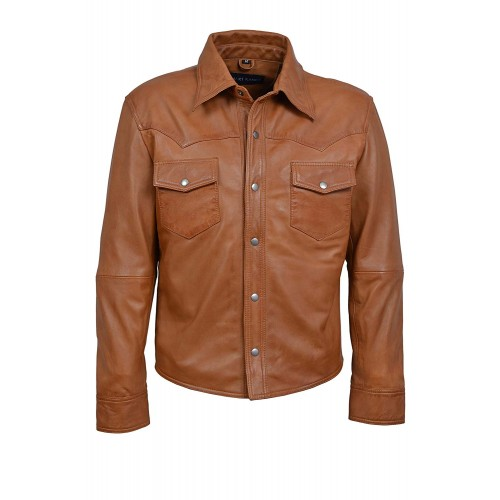 Men s Tan Adjustable Collar Casual Retro Soft Real Leather Shirt Jacket M114, Short Jackets, M114 Tan, ,