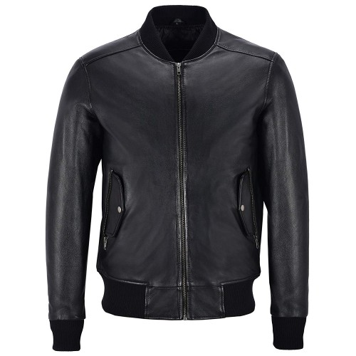 Men s 70 s Bomber Leather Jacket Black Retro Style Soft Lambskin Leather 1229, Short Jackets, 1229 Black, ,