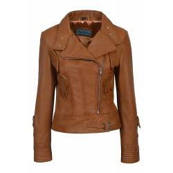 SUPERMODEL Ladies Tan Biker Style Designer Real Nappa Italian Leather Jacket 4110