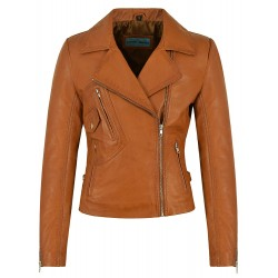 Ladies Brando Leather Jacket Tan Biker Style Motorcycle Soft Italian Napa 2588