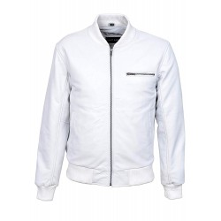 '70'S RETRO BOMBER' Men's White Cool Classic Soft Italian Nappa Leather Jacket