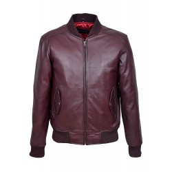 70'S RETRO BOMBER Men's Oxblood Classic Soft Italian Napa Leather Jacket 1229