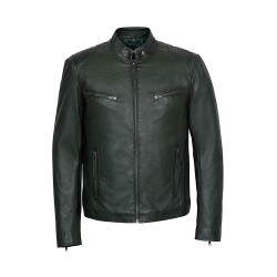 'SPEED' SR02 Men's DARK GREEN Washed Biker Style Motorcycle Real Leather Jacket