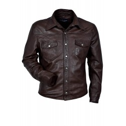 Men's M114 Brown Adjustable Collar Casual Retro Soft Real Leather Shirt Jacket