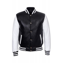 Men's BASEBALL Varsity Black White College DJ Stylish Hip Hop Rap Leather Jacket