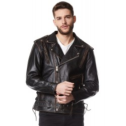 Brando Men Leather Jacket Black Distressed Embossed Eagle Live To Ride Motorcycle Biker Style