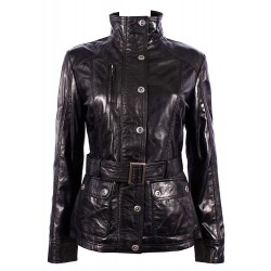 Ladies New 1160 Black Brown Soft Leather Jacket Military Collar Rock Slim Fit