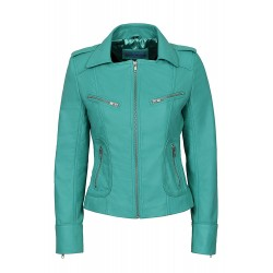 RIDER Ladies Turquoise WASHED Biker Motorcycle Style Soft Real Nappa Leather Jacket