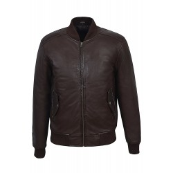 1229 70'S RETRO BOMBER Men's Brown Classic Soft Italian Nappa Leather Jacket
