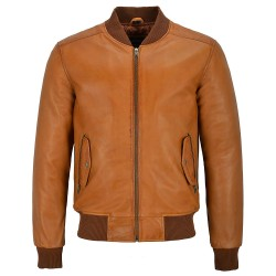 70'S Men's Real Leather Jacket Tan Retro Bomber Classic Soft Italian Napa 1229