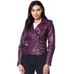 'MYSTIQUE' Ladies Leather Jacket Purple Motorcycle Designer Napa Biker Style