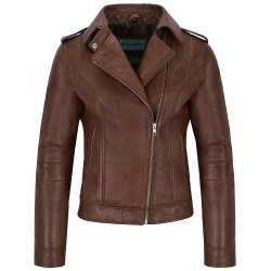 Ladies's Brando Leather Jacket Chestnut Napa Biker Motorcycle Style 442
