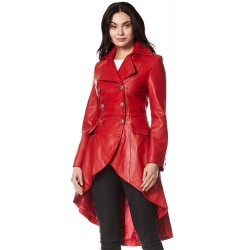 Edwardian Ladies Real Leather Jacket Red Washed Back Laced Victorian Gothic Coat