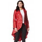 Edwardian Ladies Real Leather Jacket Red Washed Back Laced Victorian Gothic Coat, Medium Jackets, 3492 Red, ,