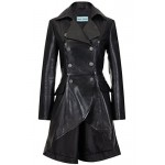 Edwardian Ladies Real Leather Jacket Black Washed Back Laced Victorian Gothic Coat, Medium Jackets, 3492 Black, ,