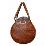 7075 Tan Sports Duffle Barrel Weekend Holdall Travel Gym Croc Print Leather Bag (Large, Tan), Leather Holdalls, 7075 Tan Sports Duffle Barrel, ,