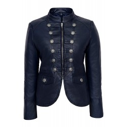 Ladies Leather Jacket Navy Blue Victory Military Parade Style Real Lambskin 8976