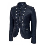 Ladies Leather Jacket Navy Blue Victory Military Parade Style Real Lambskin 8976, Short Jackets, 8976 Navy, ,