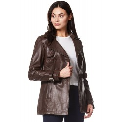 Trench Ladies Brown Classic Mid-Length Designer Real Leather Jacket Coat 1123