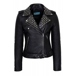Ladies DOMINO 4326 Black Rockstar Women's Real Studded Leather Biker Jacket