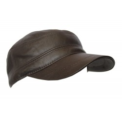 Men's Real LEATHER GENUINE Leather DARK CHOCOLATE CAP IVY Cap Gatsby Newsboy Golf Driving Flat Hat