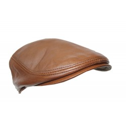 New Design Men Leather Ivy Cap MUD BROWN Lambskin Bunnet Newsboy Beret Cabbie Gatsby Flat Golf Hat