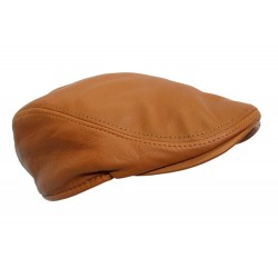 New Design Men Leather Ivy Cap TAN Lambskin Bunnet Newsboy Beret Cabbie Gatsby Flat Golf Hat
