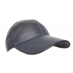 BASEBALL New Golf NAVY BLUE PLAIN Men's Women Real Soft Leather HipHop Cap Hat Velcro Adjustable