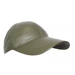 BASEBALL New Golf OLIVE GREEN PLAIN Men's Women Real Soft Leather HipHop Cap Hat Velcro Adjustable