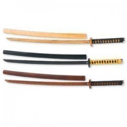 Roped Bokken & Scabbard - Black Oak