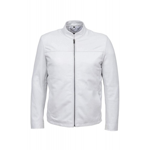 Leon Men s White Classic Biker Style Fitted Lambskin Real Leather Jacket 257, Short Jackets, 257 White, ,