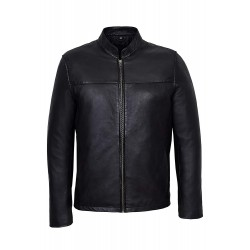 Leon Men's Black Classic Biker Style Fitted Lambskin Real Leather Jacket 257