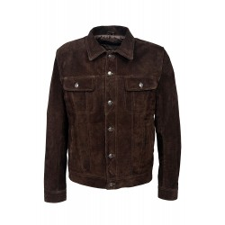 'TRUCKER' New Men's BROWN SUEDE 1280 Classic Real Cowhide Western Leather Jacket
