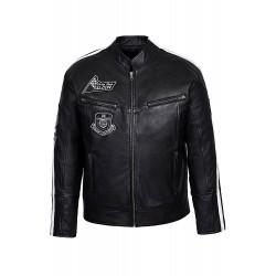 Falcon Men's Black Biker Style Badges Motorcycle Real Leather Jacket