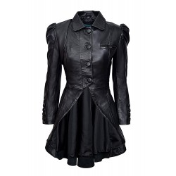 Kristen Tailcoat Ladies Real Leather Gothic Victorian Steampunk Aristocrat Black Jacket Coat 5003