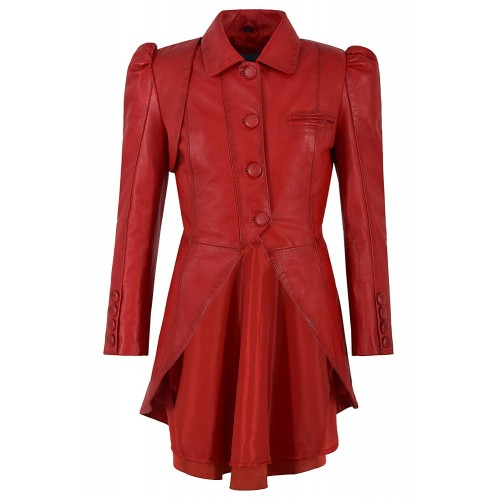 Ladies Gothic Dovetail Real Leather Tailcoat Red Slim Fit Fashion Jacket 5003, Full Length Coats, 5003 Red, ,